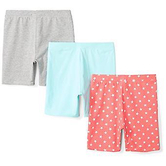 Brand - Spotted Zebra Girls' Little Kid 3-Pack Bike Shorts, Coral Star...