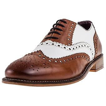 London Brogues Handcrafted Gatsby Mens Brogue Shoes in Tan White
