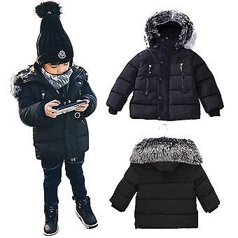 Kids Unisex Padded Bubble Parka Winter Jacket With Faux Fur Trim Hood - Black