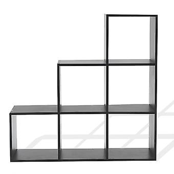 Rebecca Furniture Library AShore Black Shelf 6 Spaces Mdf 97.5x97.5x29