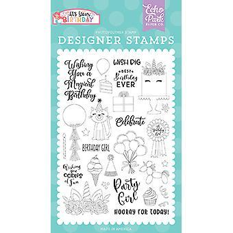 Echo Parkin syntymäpäivätyttö selkeät postimerkit