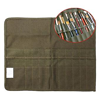 Modern Roll Up Canvas Paint Brush Army Green Bag/cases For Artist Draw Pen,