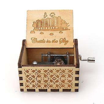 Castle In The Sky Engraved Hand Crank 18 Tones Wooden Music Box