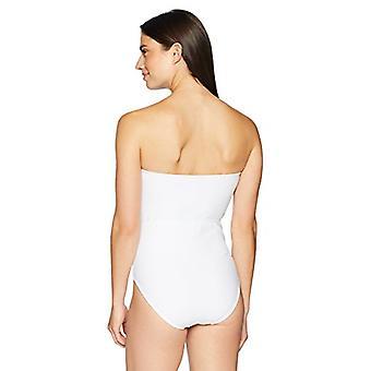 Brand - Coastal Blue Women's One Piece Swimsuit, True White, L