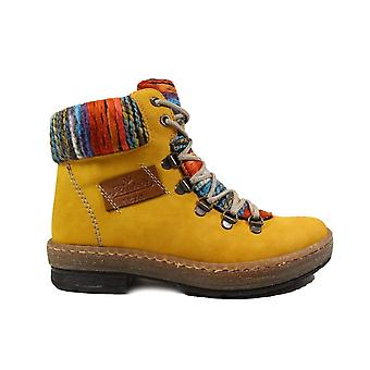 Rieker Felicitas Z6743-68 Yellow Womens Lace/Zip Up Ankle Boots