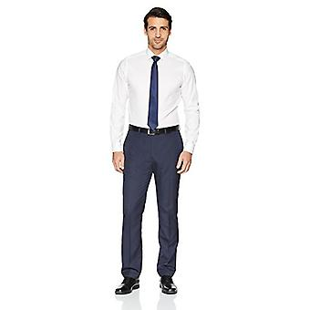 KNAPPET NED Men's Skræddersyet Fit Spread-Collar Solid Non-Iron Dress Shirt (Ingen...