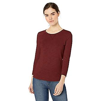 Brand - Daily Ritual Women's Lightweight Lived-In Cotton 3/4-Sleeve T-Shirt, Maroon, Small