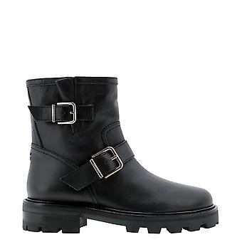 Jimmy Choo Youthiisqmblack Women's Black Leather Ankle Boots