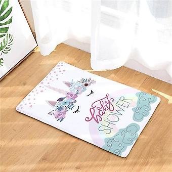 Unicorn Floor Mat  Cartoon Printed Suede Rug Home Decoration Carpet
