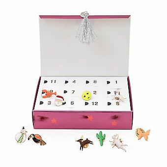 Meri Meri glazuur PIN kerst adventkalender met 24 emaille pins