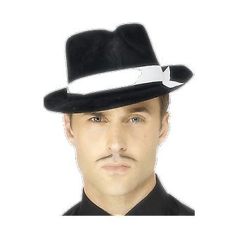 Gangster Hat 1920 Fedora Black And White Ribbon