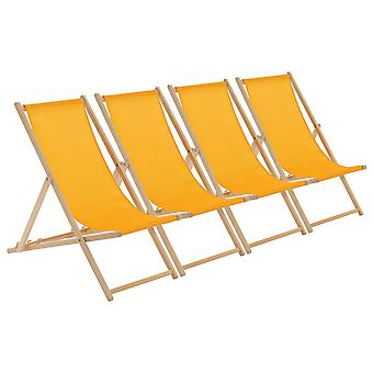 Wooden Deck Chair - Traditional Beach Style Adjustable Folding Chair - Mustard - Pack of 4