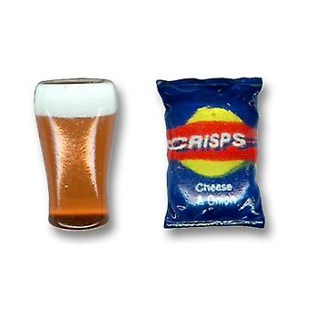 Ties Planet Pint Of Lager & Packet Of Crisps Novelty Cufflinks