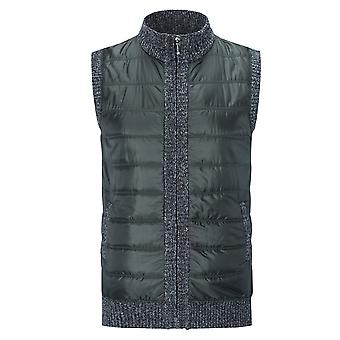 YANGFAN Herren gepolsterte Reißverschluss Weste Weste wärmer Splicing Jacke Outwear