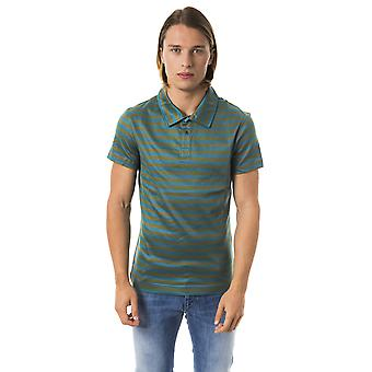 BYBLOS Verdone Green Blue Stripe Polo Shirt