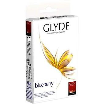 Glyde ultra blueberry flavour vegan condoms pack of 10 blue