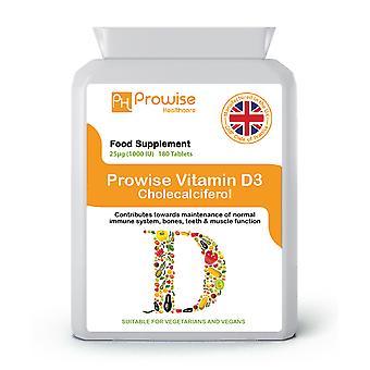 Vitamin D 1000iu 180 Tablets | Suitable For Vegetarians & Vegans | Made In UK
