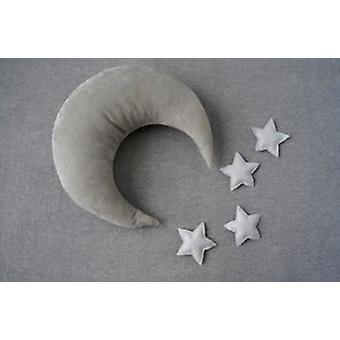 Nyfödda Fotografi Props Måne-form Kuddar med stjärnor, Full-moon Baby Photo