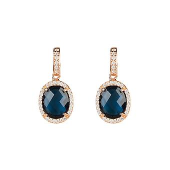 Earring Rose Gold Sapphire Blue Stud Gemstone Dangle Gift 925 Statement Bold
