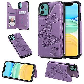 Für iPhone 11 Schmetterling Prägung Muster stoßfeste Schutzhülle mit Halter & amp; Kartensteckplätze & Fotorahmen(Lila)