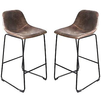 Set Of 2 Bar Stool Vintage Rustic Kitchen Pub Bar Chairs High Back Sunken Seat