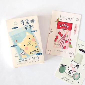 28 Sheets/set Cute Cat And Snack Lomo Card, Mini Paper Postcard /birthday Card