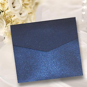 10 ملوك البحرية الأزرق بريق مربع مربع دعوات Pocketfold