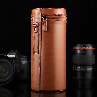 اضافية عدسة كبيرة القضية Zippered PU حقيبة جلدية مربع ل DSLR عدسة الكاميرا، الحجم: 24.5 * 10.5 * 10.5cm (براون)