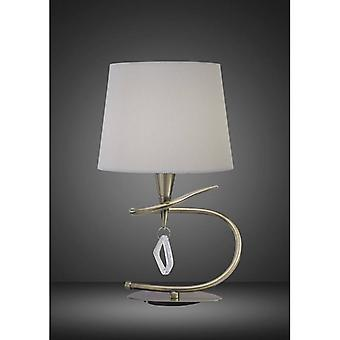 Mara Table Lamp 1 Bulb E14 Large, Antique Brass With Ivory White Shade