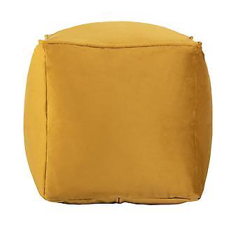 Turmeric Yellow Cube Bean Bag Foot Rest Stool Pouffe Living Room Beanbag Ottoman Footstools