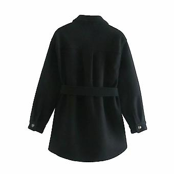 أزياء فضفاضة الصوفية سترة معطف خمر طويلة الأكمام جيوب جانبية الملابس الخارجية