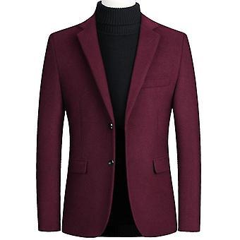 Men Wool Blends Suit, Autumn, Winter, Solid Wool Blends