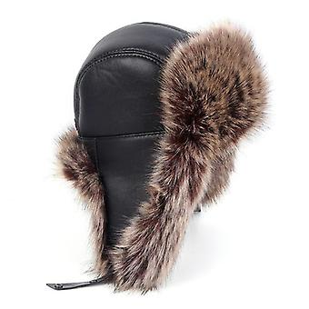 Winter Ushanka Leder Faux Fox Pelz russischen Hut