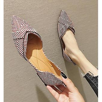 Zapatos de barco planos de rayas, dedo puntiagudo superficial de verano casuales y cómodos planos