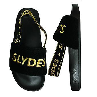 Slydes Coin Womens Slip On Back Strap Flip Flop Sliders Sandals SS20 Black Gold