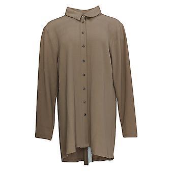 Atitudes de Renee Women''s Button Front Tunic c/Back Zipper Bege A372053