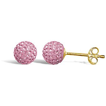 Jewelco London Ladies 9ct Yellow Gold Baby Pink Round Crystal Disco Ball Stud Boucles d'oreilles, 6mm