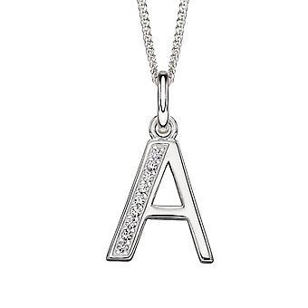Anfänge Damen' 925 Sterling Silber CZ Art Deco Stil initial Alphabet Buchstaben Halskette A-Z der Länge 41-46cm