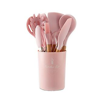Kitchen utensils and tools 11 parts Silicone/Wood Pink