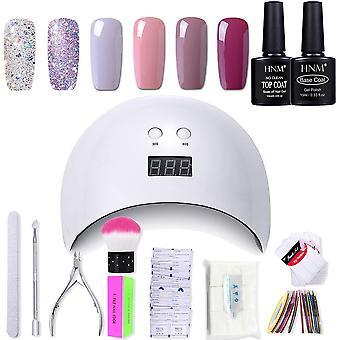 Gel nail polish hnm 6 gel nail starter kit with 24w led curing lamp base and top coat uv led soak of