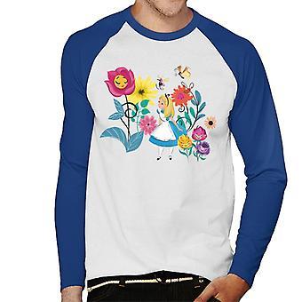Disney Alice no País das Maravilhas As Flores Homens''S Baseball Long Sleeved T-Shirt