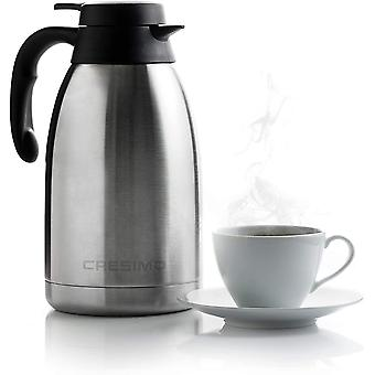 Cresimo 2 Litre Stainless Steel Coffee Jug / Double Walled Vacuum Tea Carafe