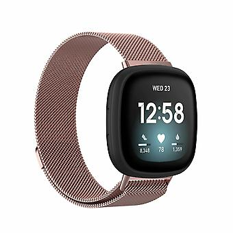"""Pour Fitbit Versa 3 / Sense Strap Milanese Wrist Band Stainless Steel Magnetic[Large (6.7""""-9.3""""),Rose Gold]"""
