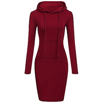 Women's Casual Solid Color Long Hoodie Dress With Pocket