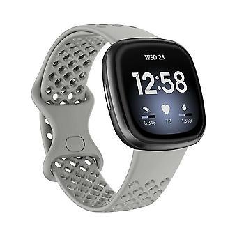 Fitbit Versa 3/ Sense Vaihtonauha Hihna Silikoniranneke Ranneke[Pieni,Harmaa]