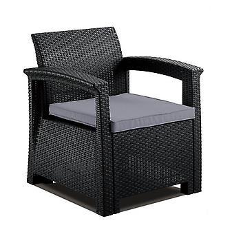 Grey Rattan Style Armchair Lounger Padded Cushion Outdoor Garden Patio Furniture