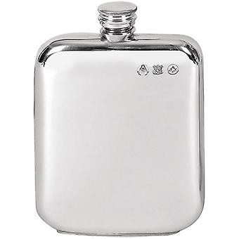 Orton West 8oz Pewter Screw Top Hip Flask - Silver
