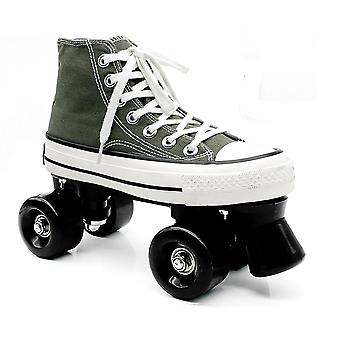 Unisex Canvas Double Line Skates For Adult Kid