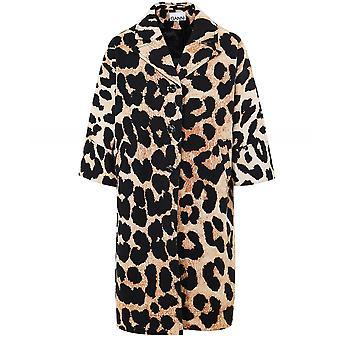 Ganni Linen Canvas Leopard Print Coat