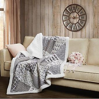 Spura Home Patchwork Charming Grays Quilted Transitional Sherpa Throw